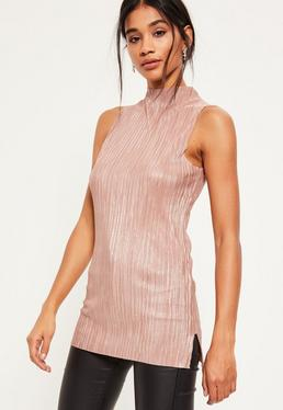 Nude Shimmer Pleated Tunic