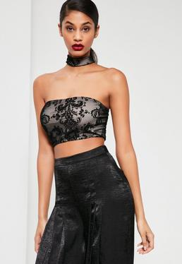 Black Flocked Velvet Crop Top