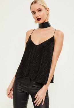 Black Pleated Cross Strap Detail Cami Top