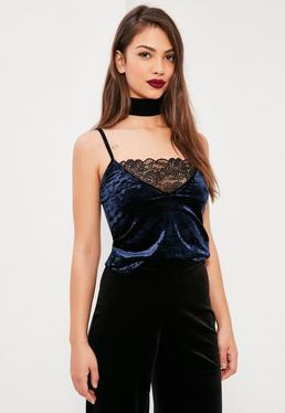 Blue Lace Velvet Cami Top