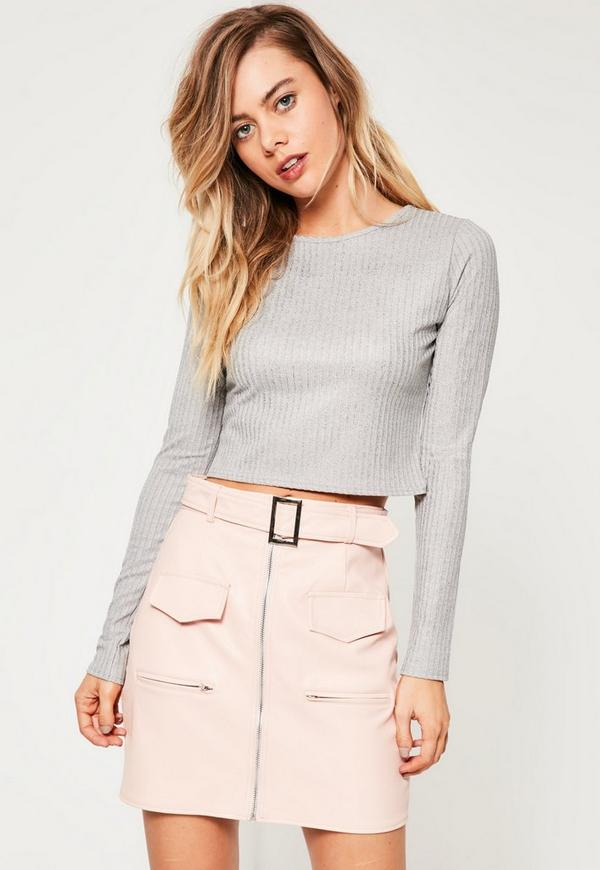 Silver Glitter Ribbed Crop Top
