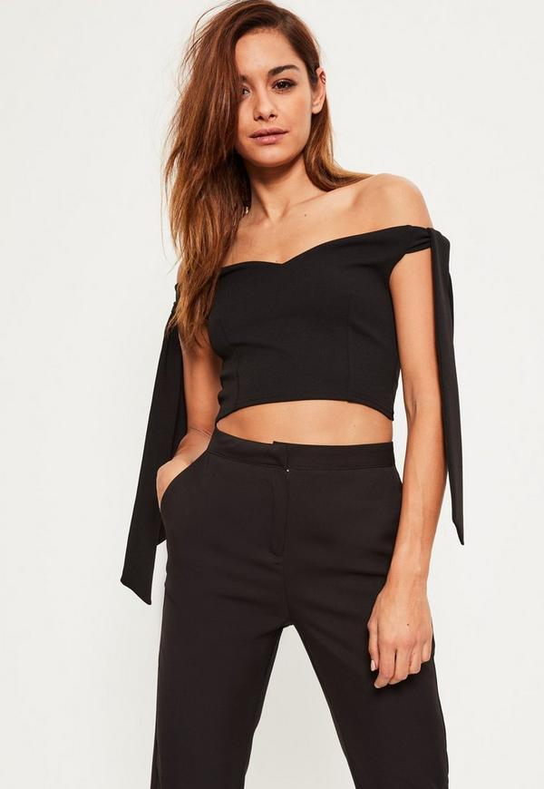 Black Detail Bardot Crop Top Black