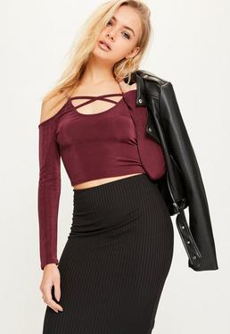 Burgundy Cold Shoulder Cross Front Crop Top