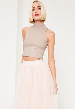 Nude Glitter Ribbed High Neck Sleeveless Crop Top