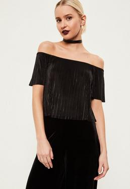 Black Pleated Bardot Crop Top