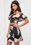 Black Floral Printed Flared Bardot Crop Top
