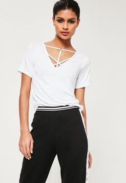 White Cross Front Harness Ring Detail TShirt
