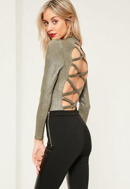 Khaki Cross Back Glitter Bodysuit