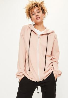 Nude Oversized Zip Through Hoodie