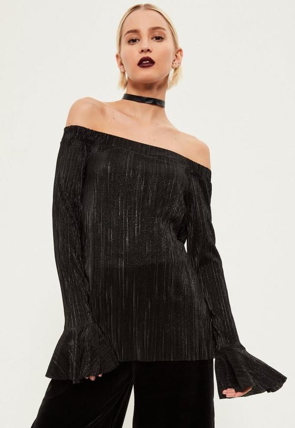 Black Pleated Glitter Bell Sleeve Off The shoulder Top