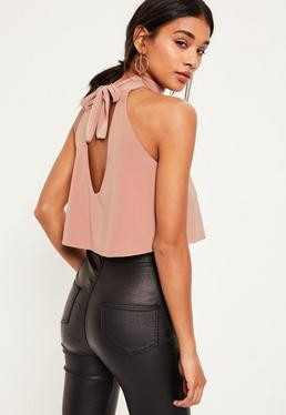 Nude Slinky Tie Back Cropped Top