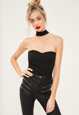 Black Choker Neck Sweetheart Bandeau Bodysuit