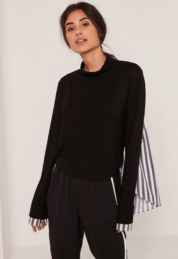 Black Striped Shirt Jersey Top