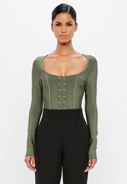 Peace + Love Khaki Criss Cross Bandage Bodysuit