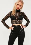 Black Roll Neck Lace Long Sleeve Crop Top