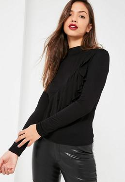 Black Ruffle Detail Asymmetric Top