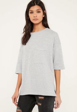 Grey Pocket Front T Shirt Sweatshirt