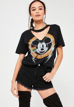 Black Mickey Mouse V Neck Cut Out T Shirt