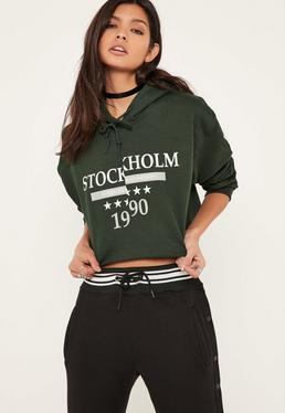 Green Stockholm Slogan Cropped Hoodie