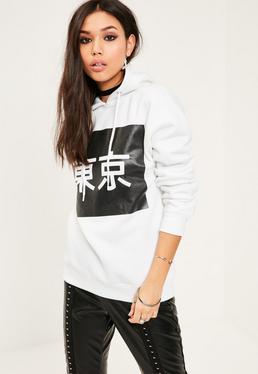 White Tokyo Slogan Sweatshirt