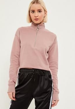 Purple High Neck Zipped Step Hem Sweatshirt