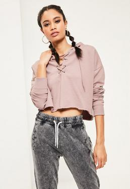 Purple Lace Up Detail Cropped Hoodie