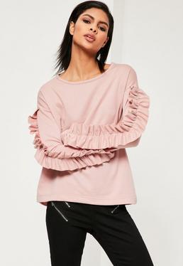 Pink Insert Frill Sleeve Sweatshirt