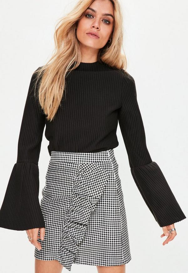 Black High Neck Ribbed Flared Sleeve Top