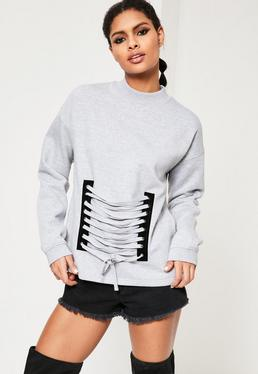 Grey Lace Up Front Detail Sweatshirt