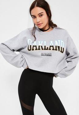 Grey Oakland Cropped Sweatshirt