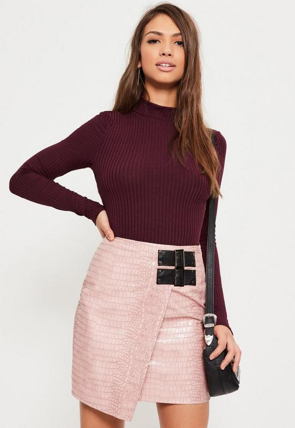 Purple Ribbed High Neck Crop Top