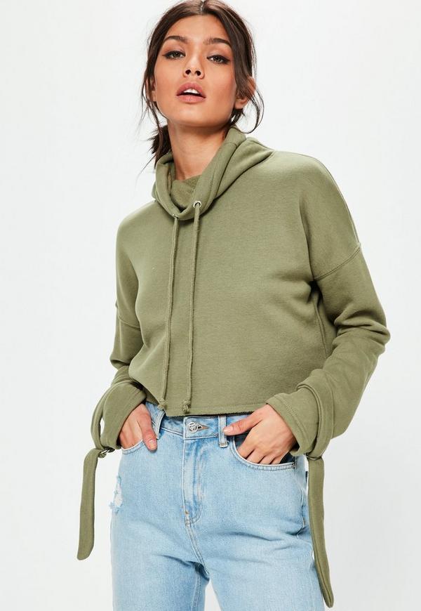 Khaki Funnel Neck Strap Cuff Sweatshirt