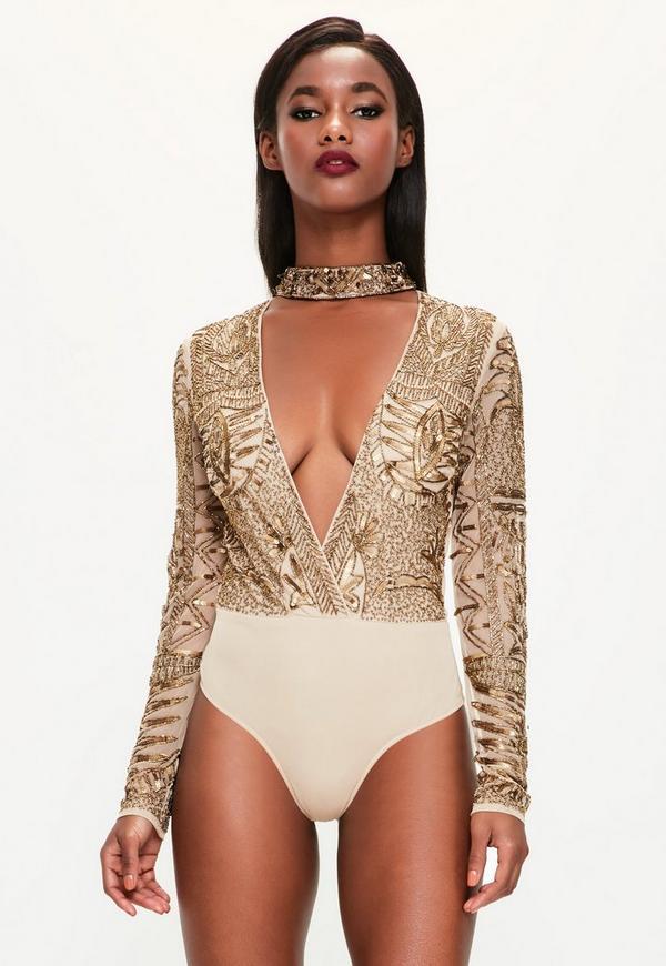 Peace + Love Bronze Choker Neck Embellished Bodysuit