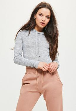 Grey Marl Hooded Bodysuit