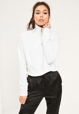 White High Neck Zipped Crop Sweatshirt