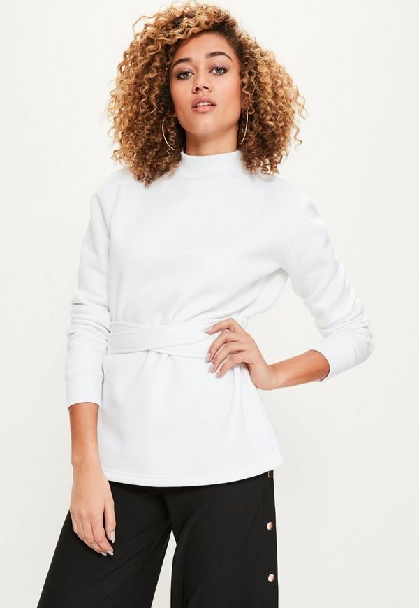 White Tie Detail Sweatshirt