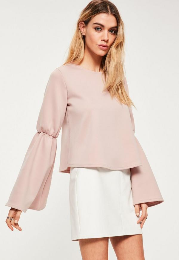 Pink Scuba Flared Sleeve Top