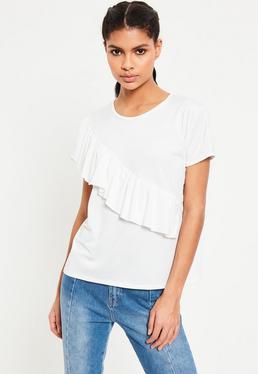 White Ruffle Front T-Shirt