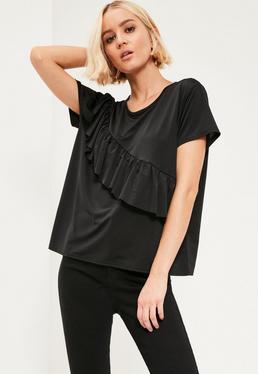 Black Ruffle Front T-Shirt