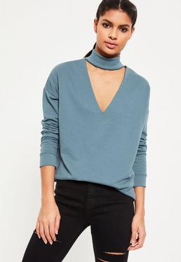 Blue Choker Neck Sweatshirt