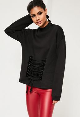 Black Lace Up Front Detail Sweatshirt
