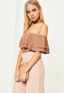 Brown Choker Neck Frill Bodysuit