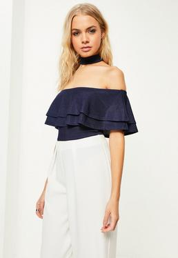 Blue Choker Neck Frill Bodysuit