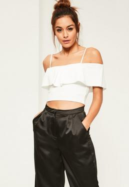 White Frill Front Crop Top