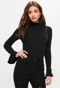 Black Ribbed High Neck Flared Sleeve Bodysuit
