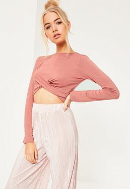 Pink Twist Front Long Sleeve Crop Top