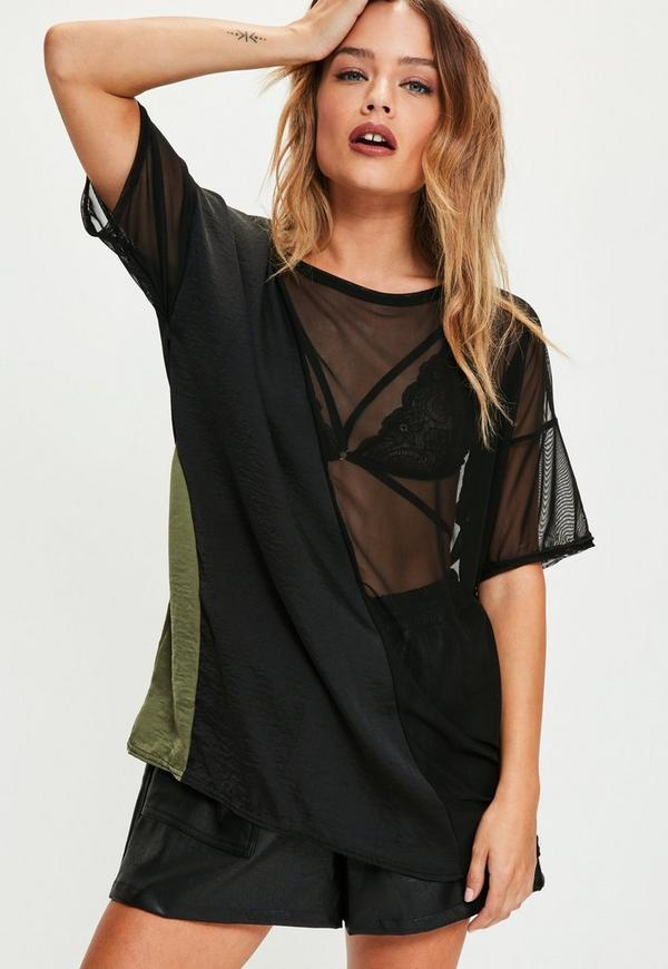 Black Mesh Panel Mix T Shirt