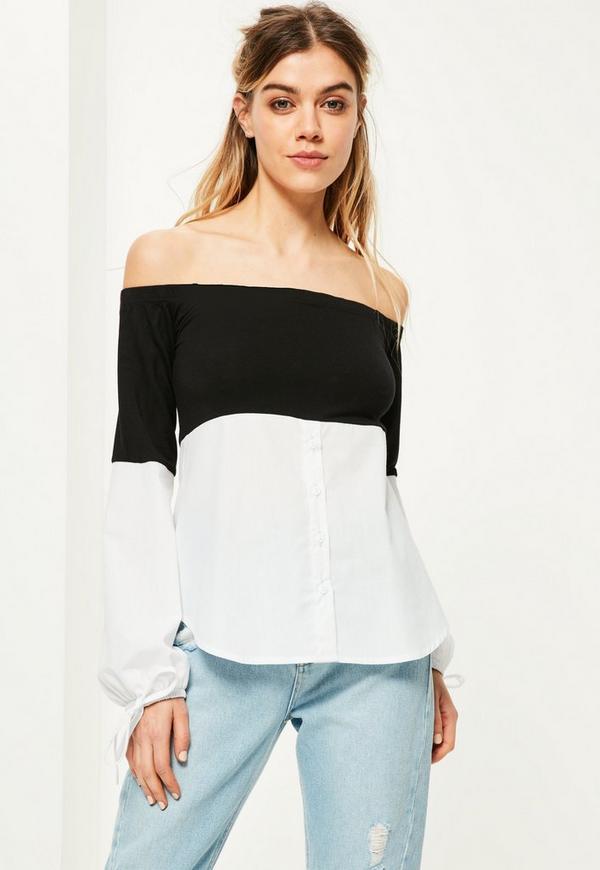 Black Colour Block Bardot Top