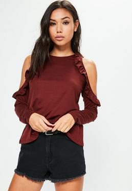 Burgundy Frill Detail Cold Shoulder Top