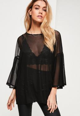 Black Mesh Oversized Frill Sleeve Tunic
